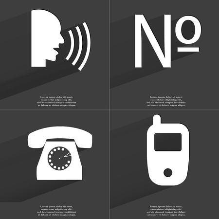 numero: Talk, Numero, Retro phone, Mobile phone icon sign. Set of Symbols with Flat design and Long hadows. Raster copy Stock Photo