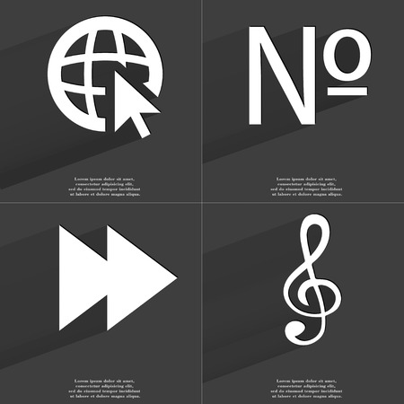 numero: Web with cursor, Numero, Two arrows media, Clef icon sign. Set of Symbols with Flat design and Long hadows. Raster copy