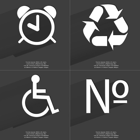 numero: Alarm clock, Recycling, Disabled person, Numero icon sign. Set of Symbols with Flat design and Long hadows. Raster copy