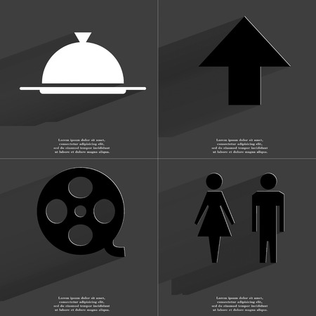 directed: Tray, Arrow directed upwards, Videotape, Silhouette of man and woman icon sign. Set of Symbols with Flat design and Long hadows. Raster copy Stock Photo