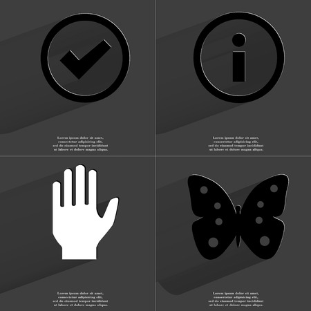hand butterfly: Tick, Information, Hand, Butterfly icon sign. Set of Symbols with Flat design and Long hadows. Raster copy