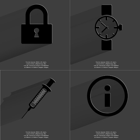 Lock, Wrist watch, Syringe, Information icon sign. Set of Symbols with Flat design and Long hadows. Raster copy