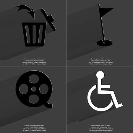 videotape: Trash can, Golf hole, Videotape, Disabled person icon sign. Set of Symbols with Flat design and Long hadows. Raster copy