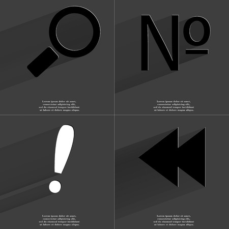numero: Magnifying glass, Numero, Exclamation mark, Two arrows media icon sign. Set of Symbols with Flat design and Long hadows. Raster copy