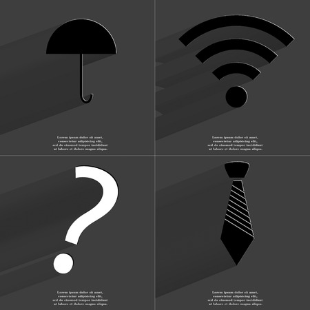 wlan: Umbrella, WLAN, Question mark, Tie icon sign. Set of Symbols with Flat design and Long hadows. Raster copy
