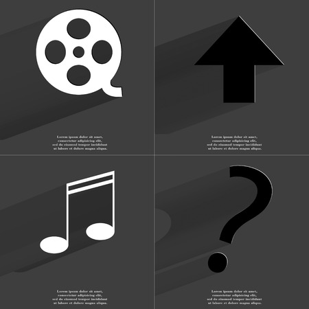 directed: Videotape, Arrow directed upwards, Note, Question mark icon sign. Set of Symbols with Flat design and Long hadows. Raster copy