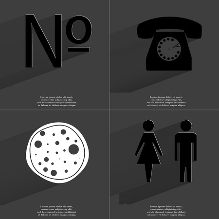 numero: Numero, Retro TV, Pizza, Silhouette of man and woman icon sign. Set of Symbols with Flat design and Long hadows. Raster copy