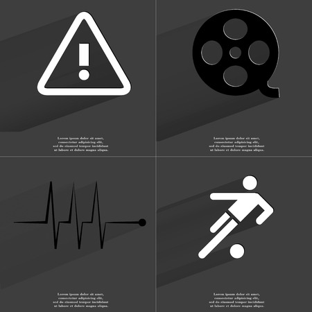 videotape: Warning, Videotape, Pulse, Silhouette of football player icon sign. Set of Symbols with Flat design and Long hadows. Raster copy