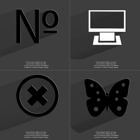 numero: Numero, Monitor, Stop, Butterfly icon sign. Set of Symbols with Flat design and Long hadows. Raster copy