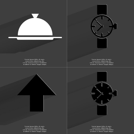 directed: Tray, Wrist watch, Arrow directed upwards icon sign. Set of Symbols with Flat design and Long hadows. Raster copy Stock Photo