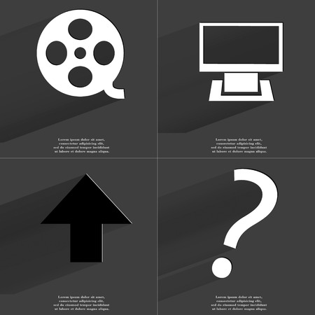 directed: Videotape, Monitor, Arrow directed upwards, Question mark icon sign. Set of Symbols with Flat design and Long hadows. Raster copy