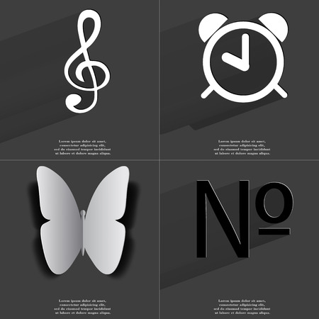 numero: Clef, Alarm clock, Butterfly, Numero icon sign. Set of Symbols with Flat design and Long hadows. Raster copy