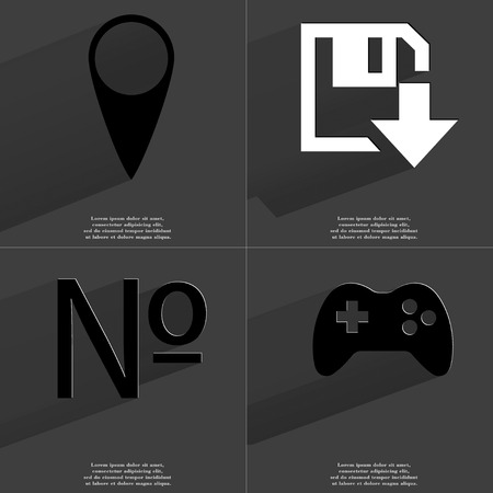 numero: Checkpoint, Floppy disk download, Numero, Gamepad icon sign. Set of Symbols with Flat design and Long hadows. Raster copy Stock Photo