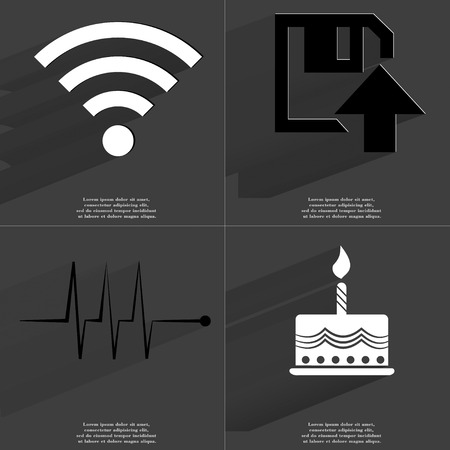 wlan: WLAN, Floppy disk upload, Pulse, Cake icon sign. Set of Symbols with Flat design and Long hadows. Raster copy Stock Photo
