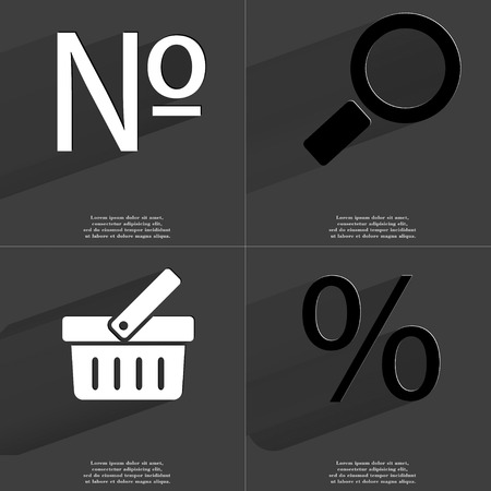numero: Numero, Magnifying glass, Basket, Percent icon sign. Set of Symbols with Flat design and Long hadows. Raster copy