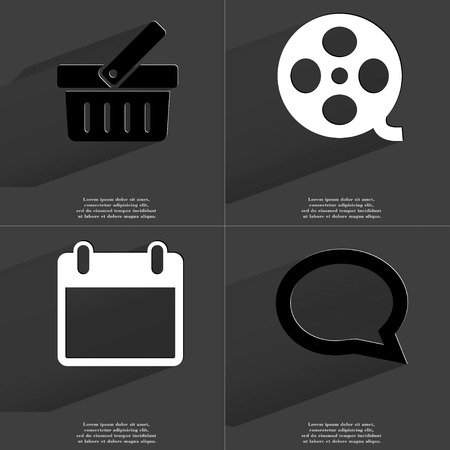 videotape: Basket, Videotape, Calendar, Chat bubble icon sign. Set of Symbols with Flat design and Long hadows. Raster copy