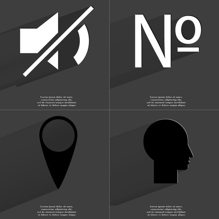 numero: Mute, Numero, Checkpoint, Silhouette icon sign. Set of Symbols with Flat design and Long hadows. Raster copy