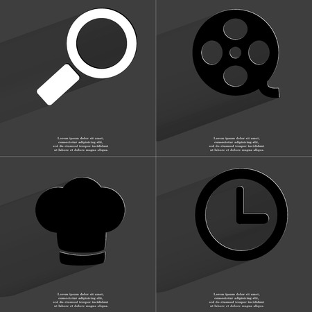 videotape: Magnifying glass, Videotape, Cooking hat, Clock icon sign. Set of Symbols with Flat design and Long hadows. Raster copy