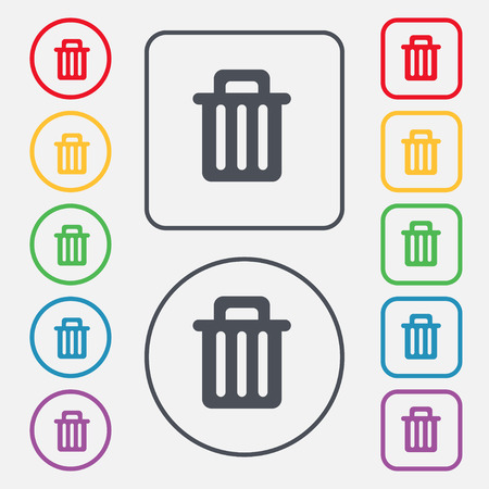 garbage tank: Recycle bin icon sign. symbol on the Round and square buttons with frame. Vector illustration
