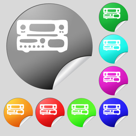 fm: radio, receiver, amplifier icon sign. Set of eight multi colored round buttons, stickers. Vector illustration