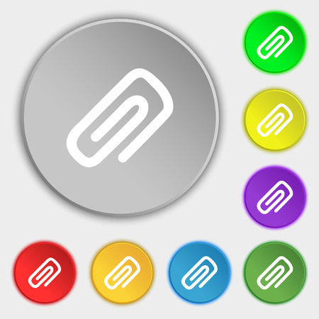 metalic sheet: clip to paper icon sign. Symbol on five flat buttons. Vector illustration