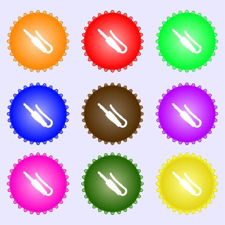 minijack: plug, mini jack icon sign. A set of nine different colored labels. Vector illustration