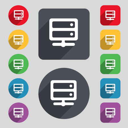 raid: Server icon sign. A set of 12 colored buttons and a long shadow. Flat design. Vector illustration