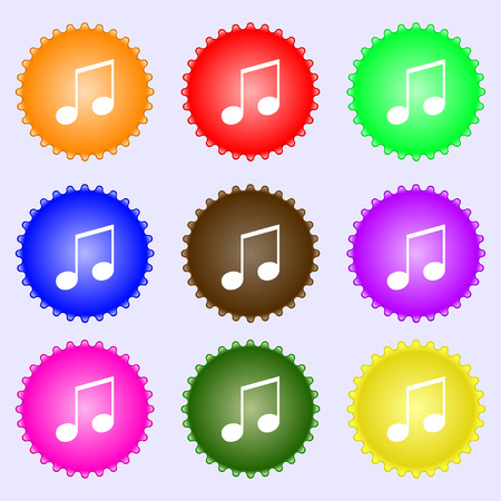 ringtone: musical note, music, ringtone icon sign. A set of nine different colored labels. Vector illustration Illustration