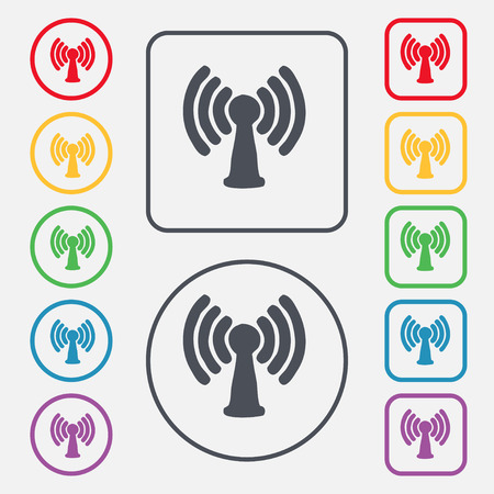 Wi-fi, internet icon sign. symbol on the Round and square buttons with frame. Vector illustration Vector