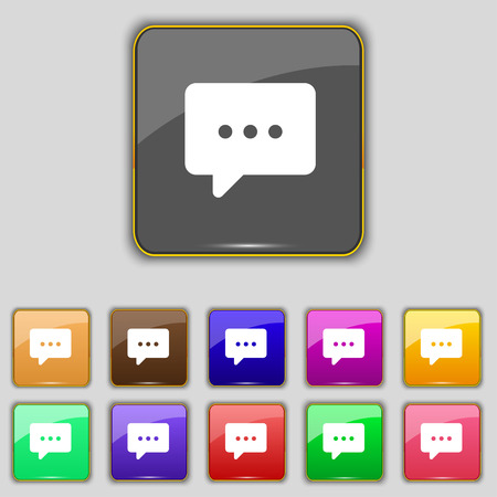 halfone: Cloud of thoughts icon sign. Set with eleven colored buttons for your site. Vector illustration