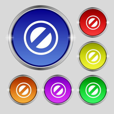 delay: Cancel icon sign. Round symbol on bright colourful buttons. Vector illustration Illustration