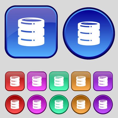 hard drive date base icon sign. A set of twelve vintage buttons for your design. Vector illustration Illustration