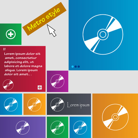 writable: Cd, DVD, compact disk, blue ray icon sign. buttons. Modern interface website buttons with cursor pointer. Vector illustration