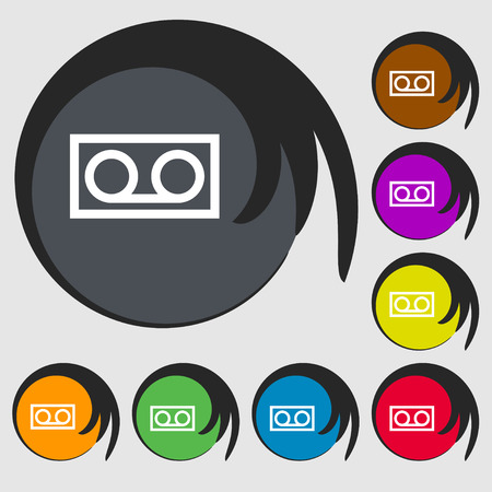 audio cassette: audio cassette icon sign. Symbol on eight colored buttons. Vector illustration Illustration