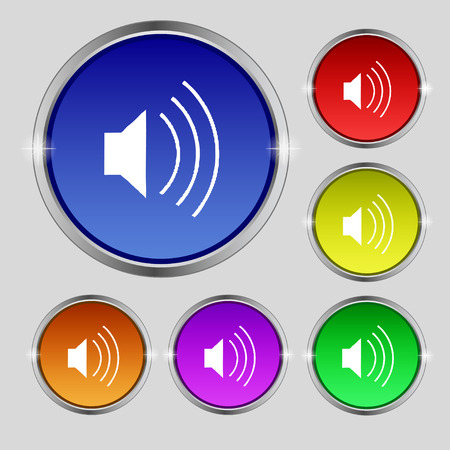 max: volume, sound  icon sign. Round symbol on bright colourful buttons. Vector illustration