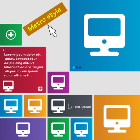 flatscreen: monitor icon sign. buttons. Modern interface website buttons with cursor pointer. Vector illustration Illustration