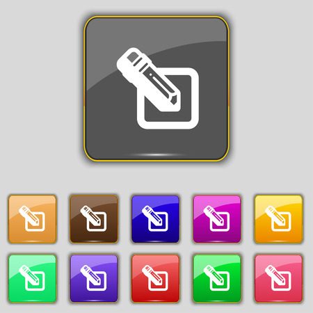 secretarial: pencil icon sign. Set with eleven colored buttons for your site. Vector illustration