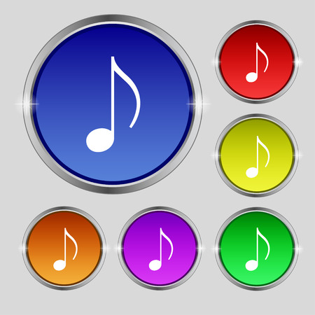 vibe: musical note, music, ringtone icon sign. Round symbol on bright colourful buttons. Vector illustration Illustration