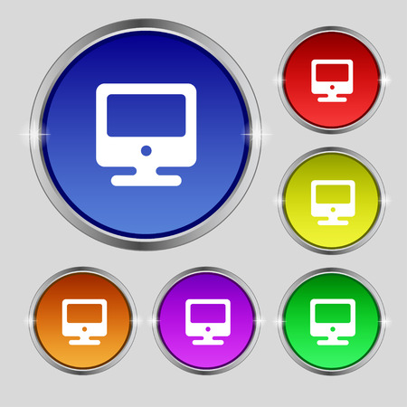 incrustation: monitor icon sign. Round symbol on bright colourful buttons. Vector illustration Illustration