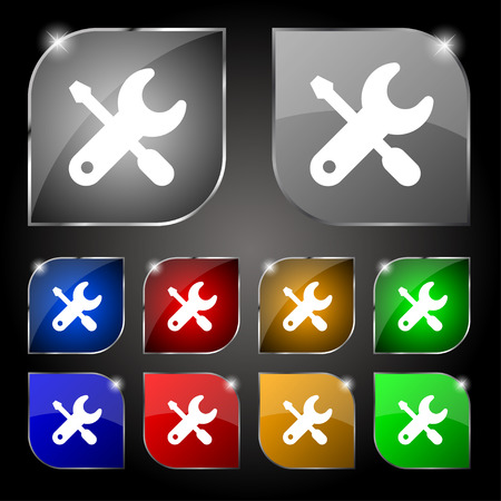 trackpad: screwdriver, key, settings icon sign. Set of ten colorful buttons with glare. Vector illustration