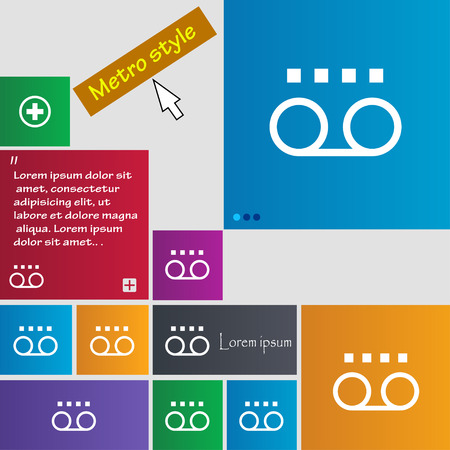 audio cassette: audio cassette icon sign. buttons. Modern interface website buttons with cursor pointer. Vector illustration Illustration