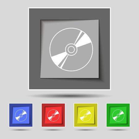 blueray: Cd, DVD, compact disk, blue ray icon sign on original five colored buttons. Vector illustration