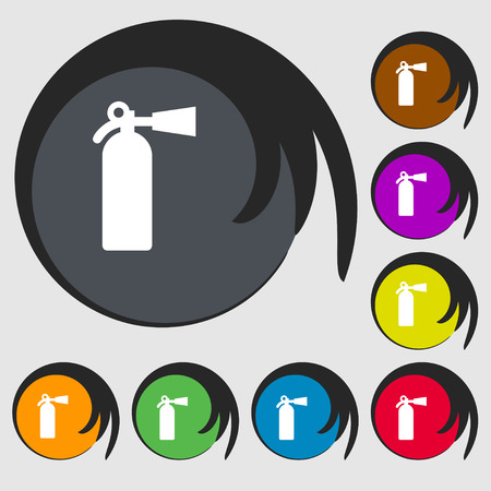 disaster prevention: fire extinguisher icon sign. Symbol on eight colored buttons. Vector illustration