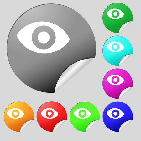 a sense of: sixth sense, the eye icon sign. Set of eight multi colored round buttons, stickers. Vector illustration