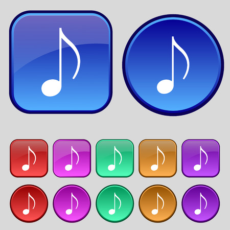 ringtone: musical note, music, ringtone icon sign. A set of twelve vintage buttons for your design. Vector illustration