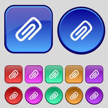 business card holder: clip to paper icon sign. A set of twelve vintage buttons for your design. Vector illustration