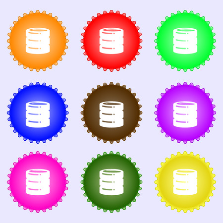 hard drive: hard drive date base icon sign. A set of nine different colored labels. Vector illustration