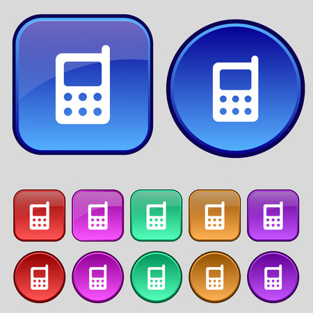 mobile phone icon: mobile phone icon sign. A set of twelve vintage buttons for your design. Vector illustration