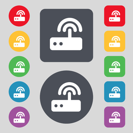 ethernet cable: Wi fi router icon sign. A set of 12 colored buttons. Flat design. Vector illustration