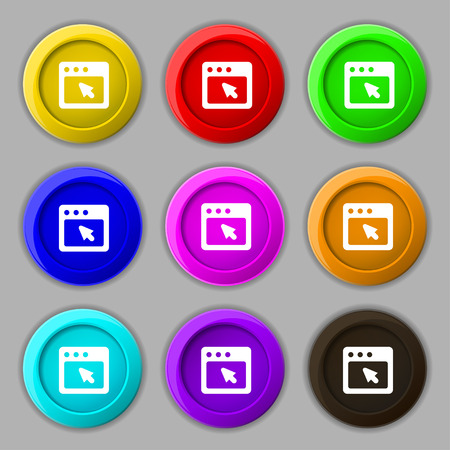 dialog box: the dialog box icon sign. symbol on nine round colourful buttons. Vector illustration